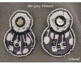 BO Grey Flowers fabric embroidered with beads, pearls