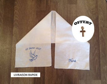Scarf of baptism for large embroidered with the name of child, a dove and date of baptism
