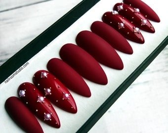 BURGUNDY MATTE false nails with white pearls | shiny accents | stiletto coffin custom press on nails | long short medium glue on nails
