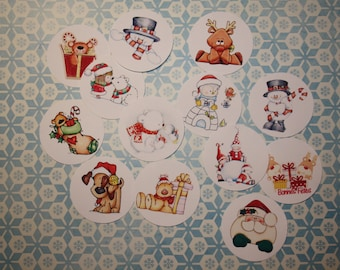 Matching set of 12 stickers stickers for Christmas decoration