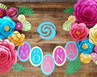 Moana Set: Large Customizable Paper Flower Arrangement Display (16 flower set+opt banner) Perfect for a party,Luau,hawaiian event or decor.