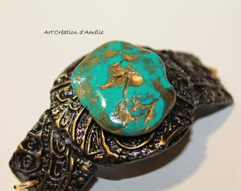 Turquoise stone with chain bracelet gold