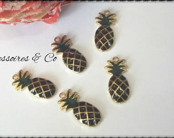 Charm glazed pineapple gold black & Green