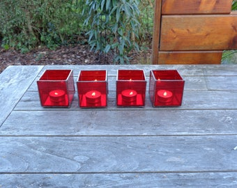 Red stained glass tea light holders
