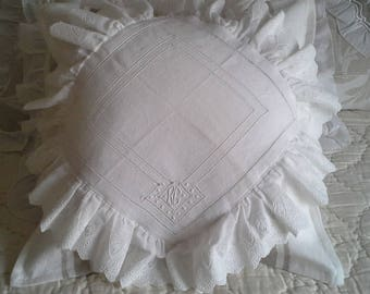 SHABBY CHIC PILLOW COVER HAND EMBROIDERED LINEN WASH, LINEN OLD