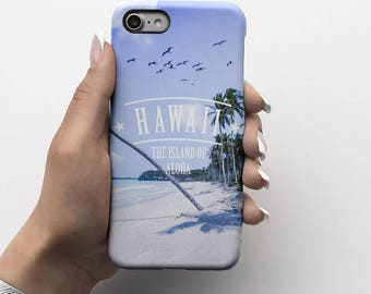 Hawaii The Island Of Aloha Beach Good Vibes Durable Hard Plastic Phone Cover For iPhone 6, iPhone 7, Samsung Galaxy S |ID96
