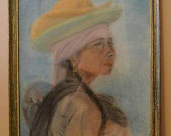 prix réduit-Pastel sec Mexicaine aux chapeaux
