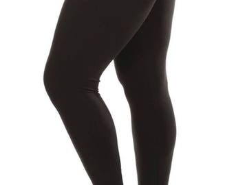 Buttery Soft solid  Black Leggings Cruvy