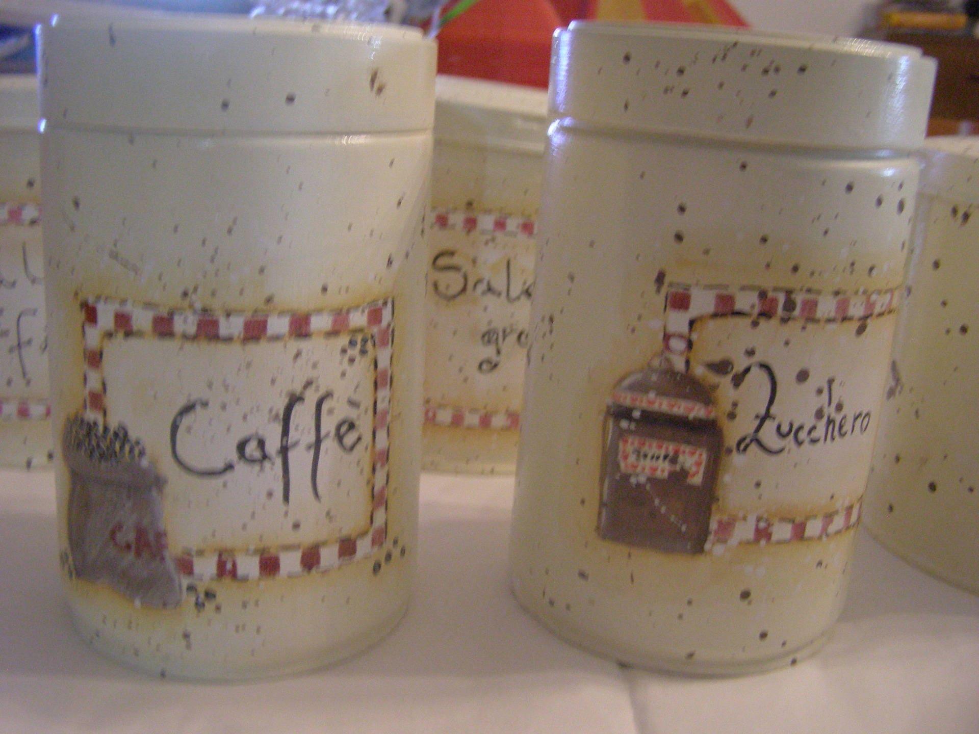 Barattoli di latta porta sale zucchero e caff for Porta zucchero caffe sale