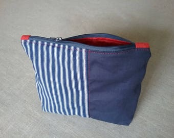 Small toiletry bag Navy and Red