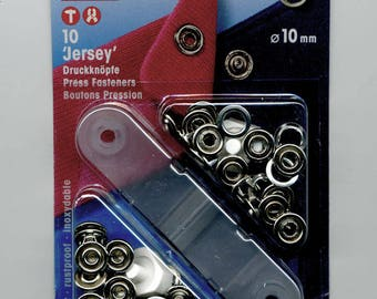 """10 buttons rings """"Jersey"""" 10 mm silver snap"""