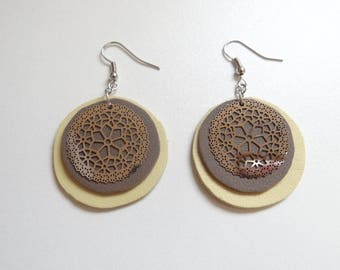 Yellow and gray leather earrings