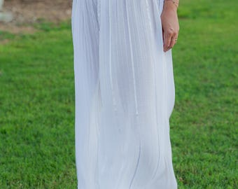 White Loose Tulle Pants