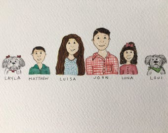 Watercolor Family Illustrations, Head shots Art, Custom Gifts, Family Portrait, Original Artwork, Family Artwork, Watercolor Illustrations,