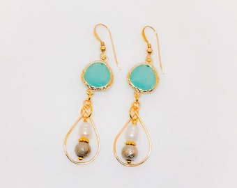 Aqua Gemstone Dangled Earrings, Bridal, Bridesmaid Gifts, Faceted Gemstone.