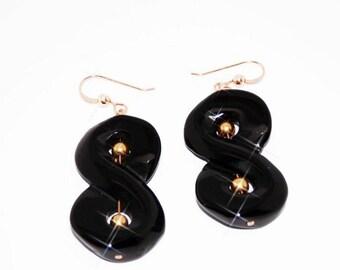 Earrings infinity earrings / 8 in Onyx and Gold Filled 18 k