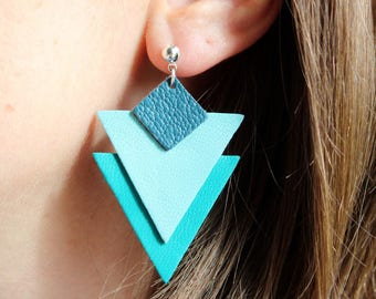 REAL turquoise and petrol blue leather TRIANGLE earring
