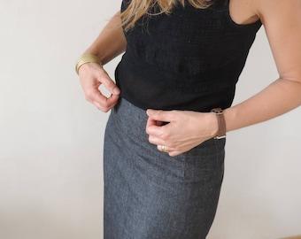 Raw denim pencil skirt high waist long mid