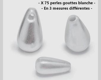 Set of 75 beads drops white in 3 sizes - new