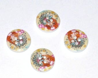 Set of 4 wooden buttons round flowers multicolored No. 2