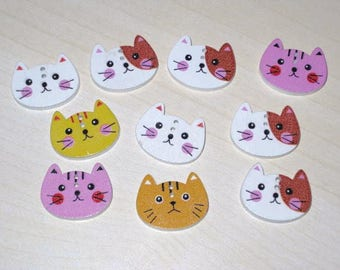 "Set of 10 buttons wooden ""Kittens"" 1.5 cm"