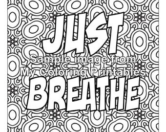 Relaxing Words Coloring Page For Adults PDF Printable Digital Download
