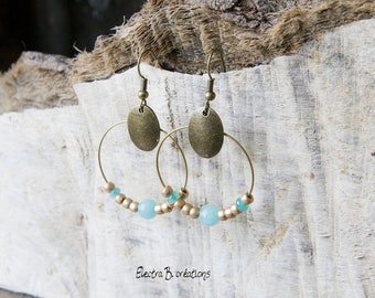 Hoop earrings Bohemian chic mint blue, bronze, matte gold