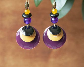 Earrings long purple sequin, mustard yellow, black and bronze