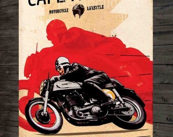 metal plate deco cafe racer motorcycle lifestyle Montlhery, 40x28cm.