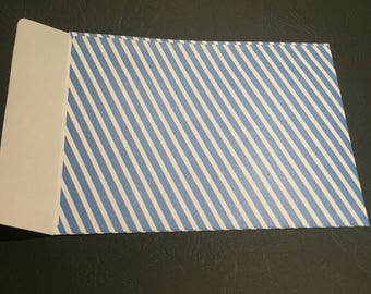 Gift bag / envelope blue striped size C6