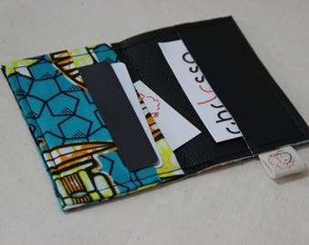 Card holder/African wax fabric and faux leather - Makoko