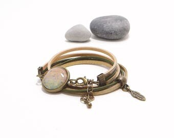Bracelet 2 laps khaki and bronze metallic leather