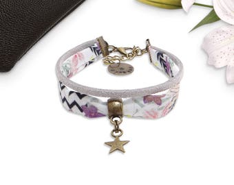 Fabric strap and suede Lily, 2 rows and star charm