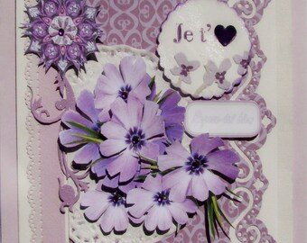 """Greeting card """"Rest!""""  and I love you offered with a bouquet of purple flowers"""
