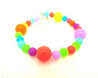 Child's memory bracelet neon multicolored beads, one size