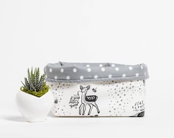 Fabric Bucket, storage, home decor, fabric storage, reversible