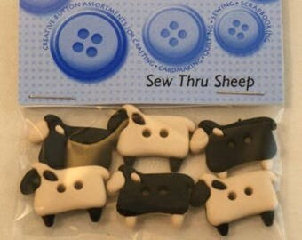 6 buttons - sheep - fancy black and white