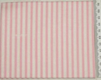 Fabric - stripe - Makower pink on ivory background.
