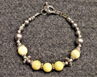 Romantic Yellow Lemon Chrysoprase Bohemian Bracelet - Sheer Elegance
