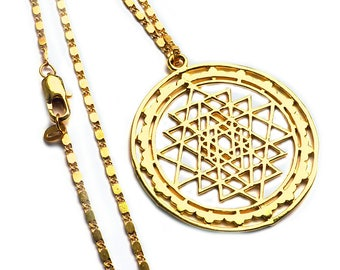 trailer / AmulettSRI YANTRA gold plated including chain, -.