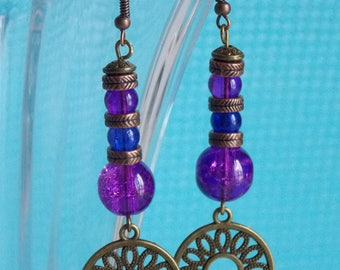 Tempo ❥ earrings in bronze with purple and blue glass beads