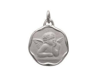 Customize pendant medal Angel 17 mm engraved sterling silver