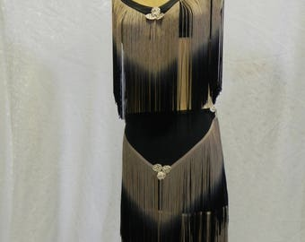 Josephine - Dress with luxurious long fringe black/bronze - effect roaring twenties.