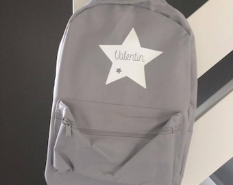Backpack grey custom name