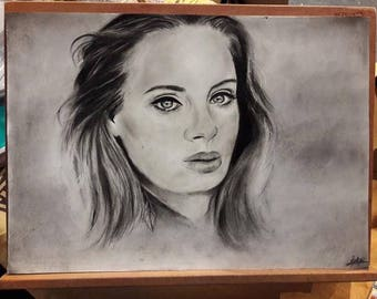 Portrait in pencil & charcoal by Adele from photo