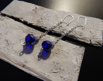 Dangle drop silver and blue crystal beads