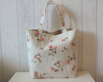 Bag of linen and ivory cotton print pink flowers.