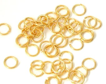 Set of 20 high quality (8mm) - Gold - AAM816OR976 Metal split rings