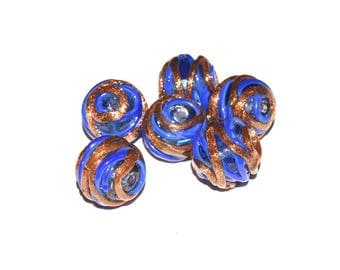 Lampwork Glass Bead - round (14mm) - hole (1. 5 mm) - blue and metallic Bronze - PVRD1415BLE163