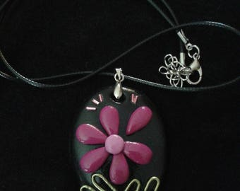Necklace and pendant oval fuchsia flower - and so forth and so
